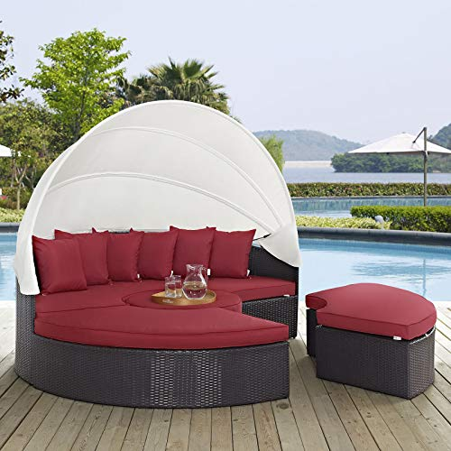 Modway Quest Circular Outdoor Wicker Rattan Patio Daybed with Canopy in Espresso Red