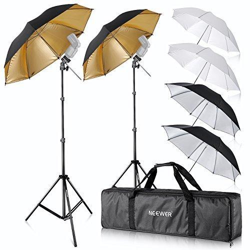 Neewer Flash Mount Three Umbrellas Kit (2) 33''/84cm White Soft/Silver Reflective/Gold Reflective Umbrella for Canon 430EX II,580EX II,Nikon SB600 SB800,Yongnuo YN 560,YN 565,Neewer TT560,TT680 by Neewer