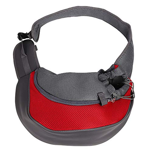 TNZMART Hands-Free Pet Puppy Carrier Sling, Portable Lightweight Breathable Mesh Outdoor Travel Single Shoulder Bag for Small Dogs Cats (Red)