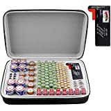 Battery Organizer Storage Box with Battery Tester (BT168), Case Bag Holder fits for 140 Batteries AA AAA AAAA 9V C D Lithium 3V(Not Includes Batteries)