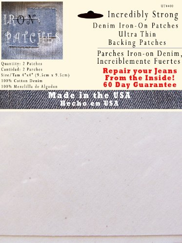 2 Ultra Thin Backing Patches - Strongest Iron on Inside Patch - White