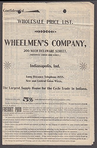 Wheelmen's Company Bicycle Trade Wholesale Price List Indianapolis IN ca 1900