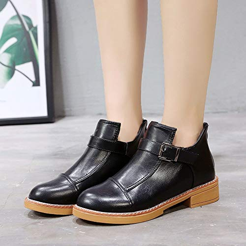 Cabeza Botas Boots Grueso Mujer De Deportivos Fondo Boots Classic Martin De Mujer Running Moda Negro Zapatos Redonda De qCS8Rwwx