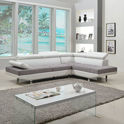 Modern Contemporary Designed Two Tone Microfiber and Bonded Leather Sectional Sofa (White/Grey) by Divano Roma Furniture (Microfiber Sofa Tone)