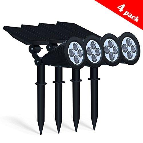 Spotlight Solar Lights, Aityvert 2-in-1 Waterproof 4 LED Solar Spotlight Adjustable Wall Light Landscape Light...