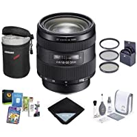 Sony 16-50mm f/2.8 DT Alpha A DSLR Mount Zoom Lens - Bundle with 72mm Filter Kit, Medium Lens Case, Lens Wrap (19x19), Cleaning Kit, Software Package