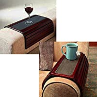 Armchair Tray Table Slatted Wooden Adjustable Flexible Brown Small Portable Modern Sofa Couch Armchair Armrest Coffee Table eBook by Easy&FunDeals
