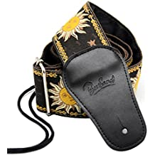 BestSounds C-150  Leather Adjustable Guitar Strap, Sun Jacquard Weave For Bass Electric and Acoustic Guitars, Black