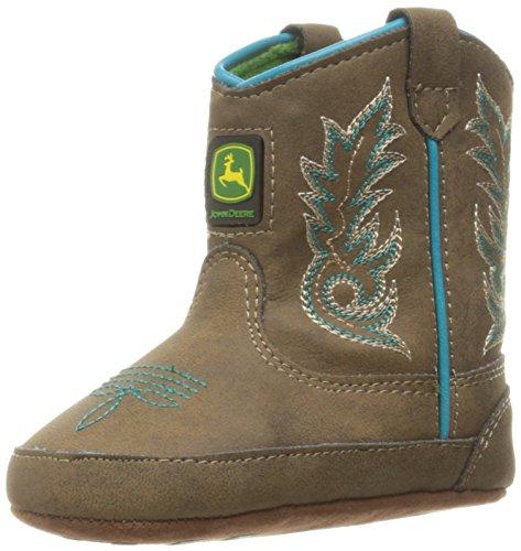 John Deere Girls Bab Dis With Turq Stitch Po Pull On Boot  Brown  0 Medium Us Infant