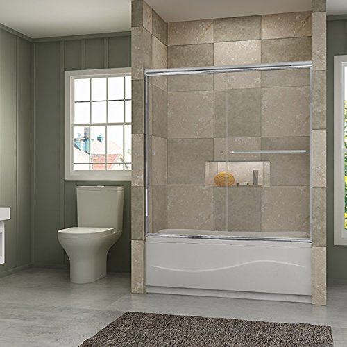 SUNNY SHOWER Frameless Bypass 2 Way Sliding Bathtub Door,...
