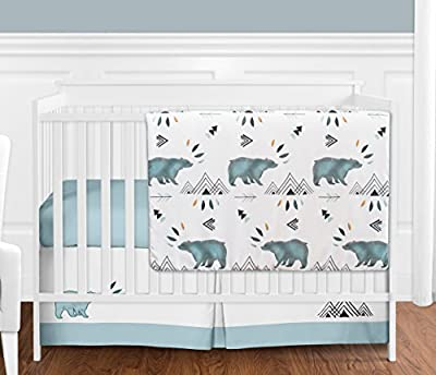 Bear Mountain Watercolor Baby Boy Crib Bedding Set without Bumper by Sweet Jojo Designs - 4 pieces
