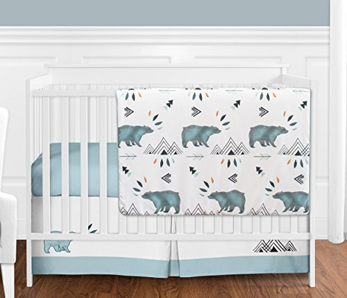 Sweet Jojo Designs Bear Mountain Watercolor Baby Boy Crib Bedding Set Without Bumper