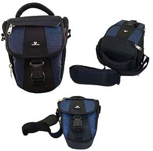 Case4Life Black/Blue Digital SLR Bridge Camera Holster Bag Case for Panasonic Lumix DMC-G, DMC-GF, DMC-GH, DMC-FZ, DMC-LC Series inc FZ62, FZ72, FZ200, DMC-FZ72EB-K –