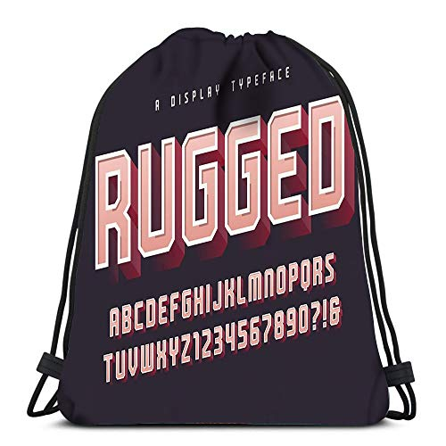 Randell Display Case - Randell Gym Drawstring Backpack Sport Bag Rugged Stylish Display Typeface Font Uppercase Numbers Alphabet Glo Lightweight Shoulder Bags Travel College Rucksack for Women Men