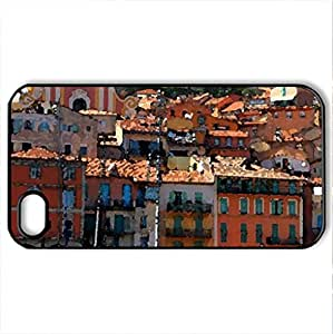 beautiful colorful coastal town - Case Cover for iPhone 4 and 4s (Houses Series, Watercolor style, Black)
