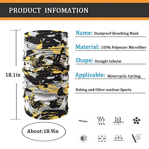 YVLEEN Neck Gaiter Face Scarf Mask - Breathable Lightweight Dust UV Protection Neck Mask Reusable Washable Multifunctional for Fishing Hiking Running Cycling