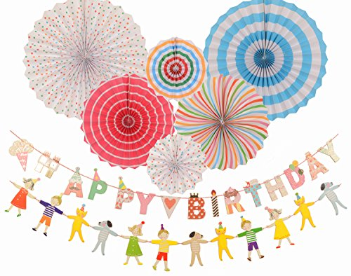 Happy Birthday Decoration, Premium Quality Birthday Banner-Party Decorations Birthday Kids - Hanging Fiesta Paper Fan - Decoration for Party/Wedding/Birthday/Festival/Christmas/Event and Home decor Christmas Party Decorations Online