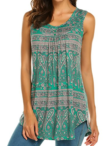 (Halife Women's Sleeveless Swing Tunic Summer Floral Flare Tank Top (XL, Dark Green))