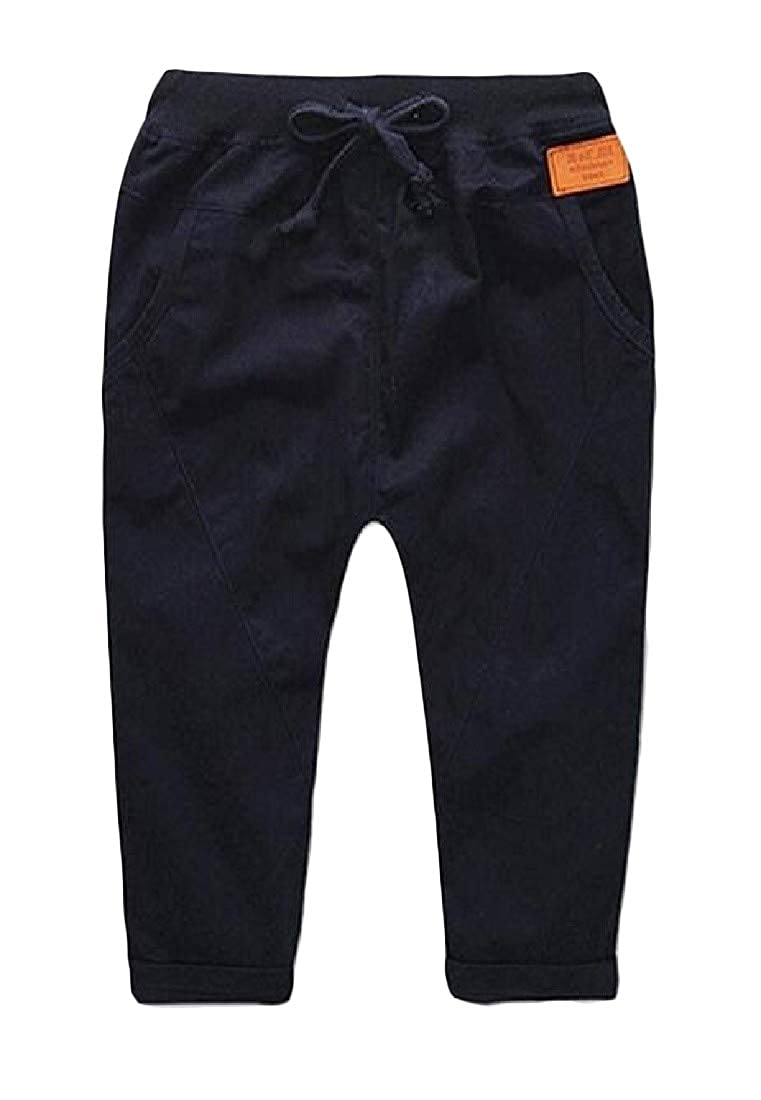 Joe Wenko Childrens Solid Cotton Comfort Casual Elastic Waist Pants Trousers