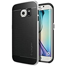 Spigen Neo Hybrid Galaxy S6 Edge Case with Flexible Inner TPU and Reinforced Hard Bumper Frame for Samsung Galaxy S6 Edge 2015 - Satin Silver