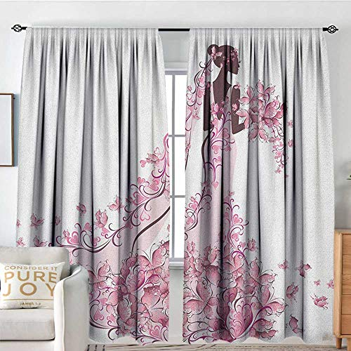 Living Room Curtains Wedding,Flowers Hearts Butterflies on Wedding Dress Bridal Gown Artowork Print, Pale Pink Maroon White,All Season Thermal Insulated Solid Room Drapes 72