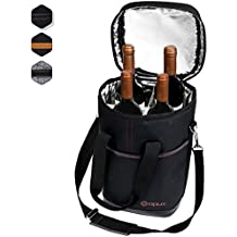 Premium Insulated 4 Bottle Wine Carrier Tote Bag   Wine Travel Bag with Shoulder Strap and Padded Protection   Wine Cooler Bag (Black)