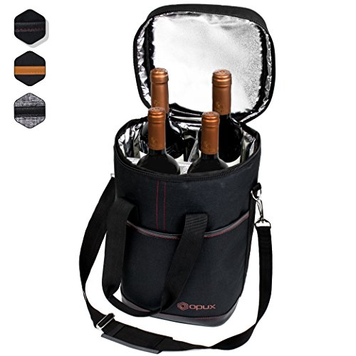 Premium Insulated 4 Bottle Wine Carrier Tote Bag | Wine Travel Bag with Shoulder Strap and Padded Protection | Wine Cooler Bag (Black)