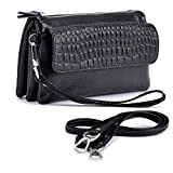 Shalwinn Women's Genuine Leather Crossbody Purse Shoulder bag Cellphone Pouch Purse Wristlet Wallet Clutch with Long Shoulder Strap and Wrist Strap (887#Black)