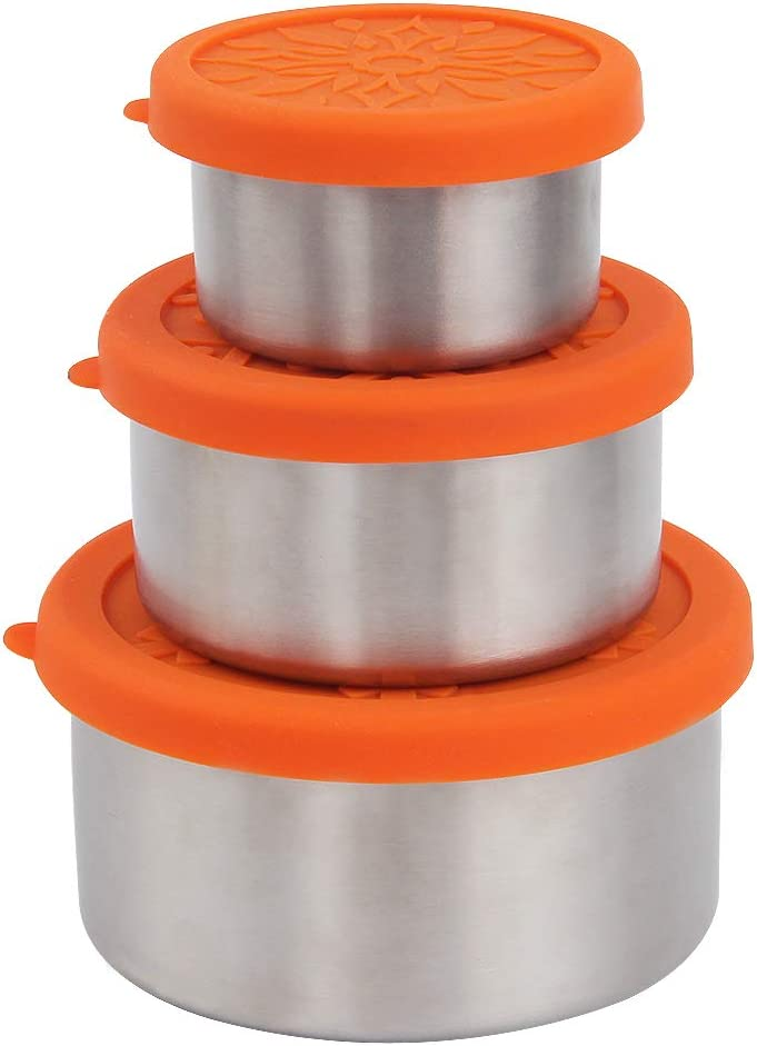 kilofly 3-Piece BPA Free Leak Proof Nesting Reusable Eco to Go Variety Stainless Steel Food Storage Container with Silicone Lid for Snack Dip Portion Control Lunch Baby Kid, 3.4 7.4 13.5-Ounce Orange