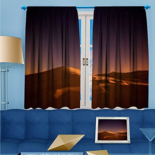 Lab Star Collection Shine (L-QNHOME Antique Decor Collection,The stars shine the red light of the desert dunes,Living Room Bedroom Curtain 2 Panels Set, 63