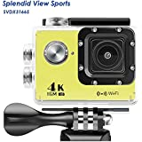 WIFI Action Camera, 4k Action Camera with Wifi 30M Waterproof Sports Camera and 2.4G Remote Contral/Rechargeable Batteries/170 Degree Wide Angle- Package including All Accessories Kits - Yellow