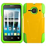 HR Wireless Alcatel One Touch Evolve 2 T-Stand Cover Case - Retail Packaging - Yellow/Neon Green Silicone