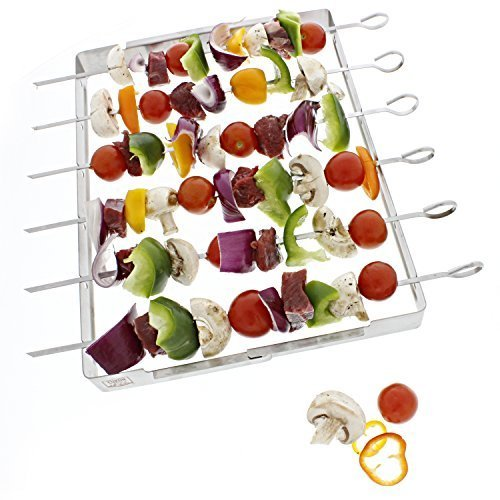 - Yukon Glory 6-Piece Skewer and Grill Rack Set, Heavy Duty Stainless Steel Shish Kebab Skewer Set - Easy Cleaning and Storage - Six Flat Skewers - Use on Charcoal, Electric or Gas Grill - 3 Year Warranty Included