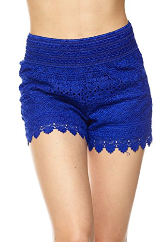 ToBeInStyle Women's Crochet Style 2 Lace Shorts - Royal Blue - Small by ToBeInStyle