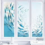 YQ WHJB Frosted glass film,Privacy Window films,Static decorative films,Ocean Waterproof Home Bathroom Office Reusable Opaque Window sticker Decal-B 80x120cm(31x47inch)