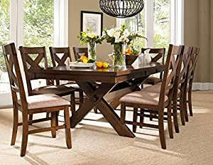 picture of Roundhill Furniture Karven 9-Piece Solid Wood Dining Set with Table and 8 Chairs