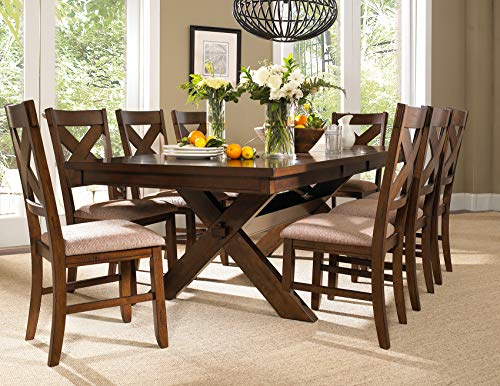 Roundhill Furniture Karven 9-Piece Solid Wood Dining Set with Table and 8 Chairs (12 Seater Oak Dining Table And Chairs)