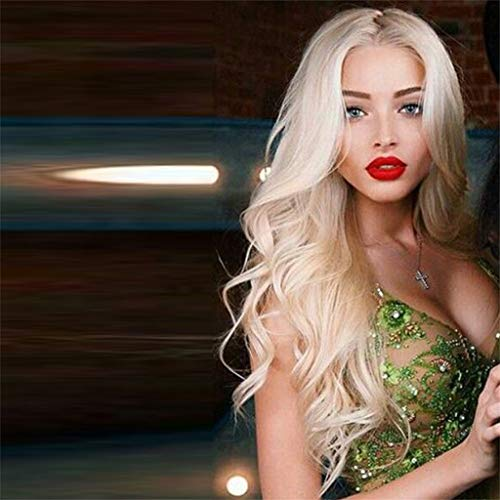 25 inches Platinum Blonde Curly Wavy Heat Resistant Synthetic Hair Wigs for Women Middle Parting None Lace Front Hair Replacement Wigs ()