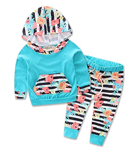 samgani baby Newborn Baby Boy Girl Warm Hoodie Long Sleeve T-Shirt Top + Pants Outfits Set Kids Sweater Clothes Suit (90)