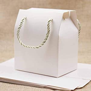 5Pcs Durable Kraft Paper Gift Bags Durable Rope Handle Solid Color Wedding Birthday Candy Favors