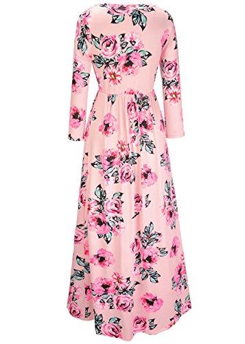 3 spiaggia delle lungo O maniche partito in stampa da di donne da Maxi seta lunghe Vestito a Collo Rosa floreale da 4 f5SwHZnwq