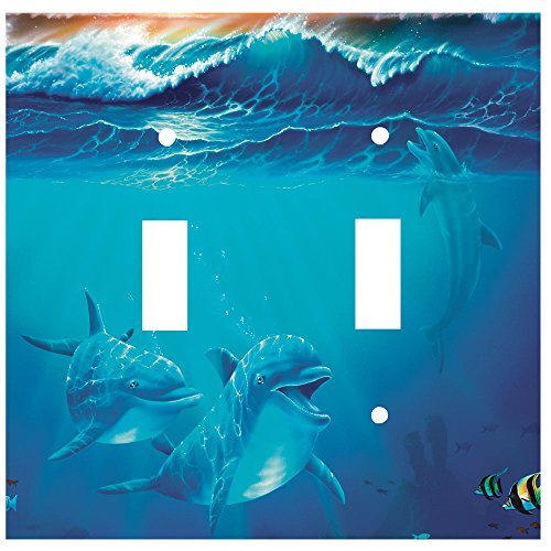 Art Plates - Double Gang Toggle OVERSIZE Switch Plate/OVER SIZE Wall Plate - Dolphins at - Covers Switchplate Oversize