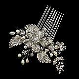 Irina Antique Silver Freshwater Pearl, Swarovski Crystal & Rhinestone Flower and Leaf Comb Wedding Bridal Special Occasion