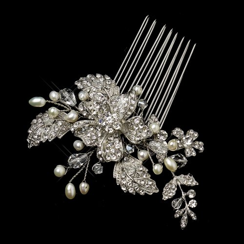(Irina Antique Silver Freshwater Pearl, Swarovski Crystal & Rhinestone Flower and Leaf Comb Wedding Bridal Special Occasion)