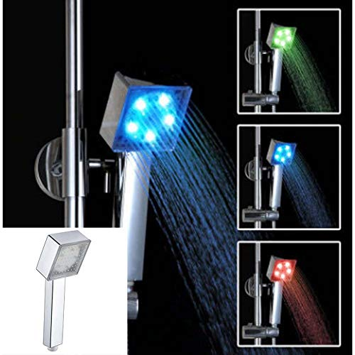 Upolymall LED Square Shower, New Promotion Temperature Control 3 Color Temperature Change Color Square Hand Shower Head