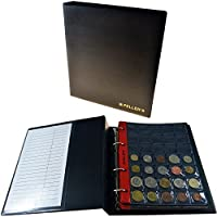 Album pour 206 monnaies (classeur M). 10 feuilles, Mix pochettes 27mm x 27mm, 35mm x 40mm, 46mm x 50mm. Idéal pour les pièces de différentes diamètre.