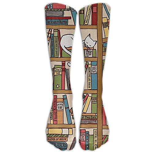 QCa Stocking Nerd Book Lover Kitty Sleeping Over Bookshelf In Library Academics Unisex Outdoor Knee High Long Tube Socks -