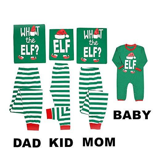 Family Matching Christmas Pajamas Sleepwear Letter Printed Long Sleeve Tops Stripe Green Striped Pajamas Pant Set (Mom, S)