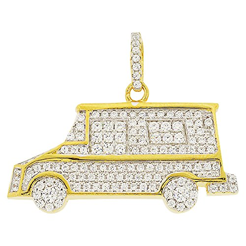 (Men's Yellow Gold-Plated Sterling Silver Round Cut Cubic Zirconia Ice Cream Truck Pendant, 0.90