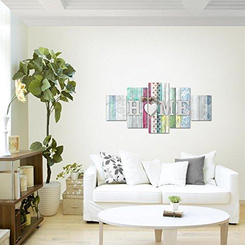 prestigeart-Bilder-Home-Holz-Bretter-Wandbild-Vlies-Leinwand-Bild-XXL-Format-Wandbilder-Wohnzimmer-Wohnung-Deko-Kunstdrucke-Wei-5-Teilig-100-MADE-IN-GERMANY-Fertig-zum-Aufhngen-503352a